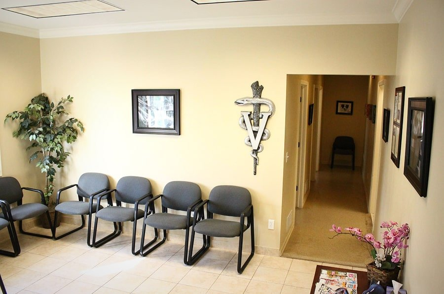 front lobby of veterinary clinic. Pictured waiting area
