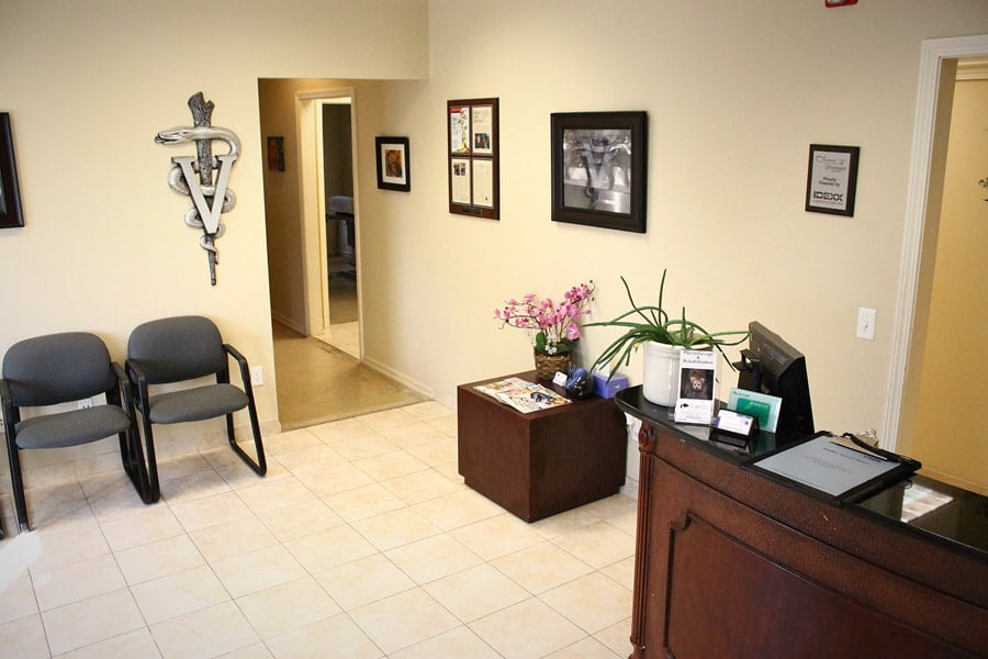 front lobby of veterinary clinic. Pictured is front desk
